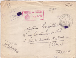 24768# WW2 LETTRE FM CENSURE PASSED BY CENSOR ROUGE + NOIR FIELD POST OFFICE MASQUE 1940 SAINT AMAND MONT ROND CHER - WW II