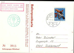 Suisse Poste Obl Yv: 849 Yv:1 Euro Pro Juventute Geai (TB Cachet à Date) Ballonpostkarte - Storia Postale