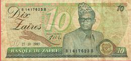 Zaïre - Billet De 10 Zaïres - 27 Octobre 1985 - Mobutu - P27A - Zaïre