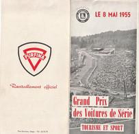 Rare Programme Dépliant Grand Prix Des Voitures De Série Tourisme Et Sport Le 8 Mai 1955 à SPA - Cars