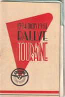 Rare Programme Rallye De Touraine 13-14 Mars 1954 - Cars