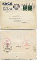 TARIF FRANCE ALSACE ALLEMANDE . SEINE ENV 1942 LEVALLOIS PERRET PAIRE 2F PETAIN => STRASSBURG + CENSURE AU VERSO - 1921-1960: Modern Period