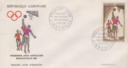 Enveloppe  FDC  1er  Jour   GABON    Basket   Premiers  Jeux   Africains   BRAZZAVILLE    1965 - Pallacanestro