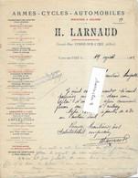 1902 Facture H. LARNAUD / Armes Cycles Automobiles / 03 Cosne Sur L'Oeil / Allier - 1900 – 1949