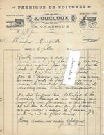 1905 Facture Illustrée J. DUCLOUX / Fabrique De Voitures (à Cheval) / 03 Charroux / Allier - 1900 – 1949