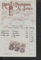 FACTURE ILLUSTRÉE SUR Tb FISCAUX DE 1934 E. LEGUAY TONNELLERIE RHUM DES PLANTATIONS SAINT JAMES ANTILLES À TRELOUP : - Automobilismo