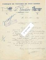 1925 Facture Illustrée F. GROLIERE / Fabrique Voitures (à Cheval)  / 03 Murat / Allier - 1900 – 1949