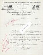 1925 Facture Illustrée CORNELOUP DURANTET / Menuisier, Serrurier, Fabrique Voitures 03 Montcombroux-les-Mines / Allier - 1900 – 1949