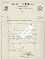 1912 Facture Antoine BLANC / Menuisier ébéniste / Grand Chemin à Mane / 04 Basses-Alpes ( Haute-Provence) - 1900 – 1949