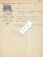1907 Facture Illustrée A. MOREAU / Fabrique Instruments Agricoles / Entrep Battage, Râteaux à Blé / 03 Domérat / Allier - 1900 – 1949