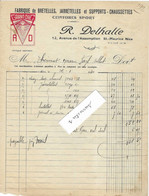 """1930 Facture Illustrée R. DELHALLE / Fabrique Bretelles, Jarretelles / """"Grand Chic""""/ 06 Nice / à Thévenot Fayl-Billot 52 - 1900 – 1949"""