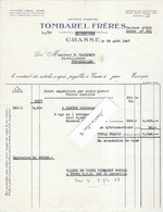 1947 Facture TOMBAREL Frères / Parfums / 06 Grasse / Envoi D'essence De Noyaux à Distillerie Fougerolles 70 - 1900 – 1949