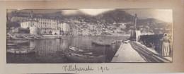 06 -  VILLEFRANCHE Sur MER - Photo Originale Panoramique Du Port - Une Femme Réparant Un Filet De Pêche 1912 - Lieux
