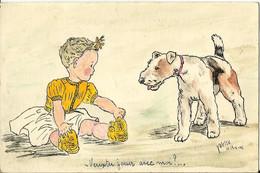 """3129 CPA Chien Fox Terrier Et Fillette - """" Veux Tu Jouer Avec Moi ? """" - Illustrateur """" Yvette Le 13-8-41 """" - Dogs"""