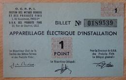 Billet Matière - Appareillage Electrique D'Installation OCRPI 1 Point 31 III 1945 - Bons & Nécessité