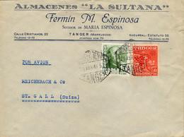 1949 MARRUECOS ESPAÑOL , TÁNGER - ST. GALLEN , SOBRE CIRCULADO , CORREO AÉREO , FRANQUEO MIXTO - Marruecos Español