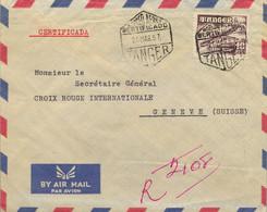 1957 MARRUECOS ESPAÑOL , TÁNGER - GINEBRA , SOBRE CERTIFICADO , LLEGADA AL DORSO , ED. 171 , 10 PTS. AVIONES - Spanish Morocco