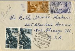 1958 , GUINEA ESPAÑOLA , SOBRE CIRCULADO ENTRE BATA Y CHICAGO , CORREO AÉREO , ED. 313 , 329 X 2 , 370 - Spanish Guinea