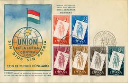 1957 , ED. 1200 / 1205 , PRO INFANCIA HÚNGARA , SOBRE CONMEMORATIVO - 1951-60 Covers