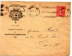 PAS De CALAIS - Dépt N° 62 = BOULOGNE Sur  MER 1932 =  Flamme KRAG  ' CURE D'AIR / CASINO / JUIN ' + SAPEURS POMPIERS - Oblitérations Mécaniques (flammes)
