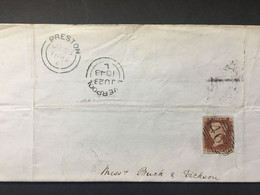 GB VICTORIA Entire 1848 Liverpool To Preston Tied With 1d Red Imperf - Covers & Documents
