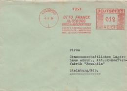 Deutsches Reich Firmenbrief Mit Freistempel AFS Otto Franck Kolonialwaren Augsburg 1934 - Machine Stamps (ATM)