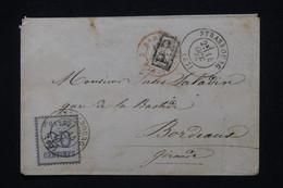 FRANCE / ALLEMAGNE  - Enveloppe De Strasbourg Pour Bordeaux En 1870, Affranchissement Alsace Lorraine 20c  - L 100313 - Elzas-Lotharingen