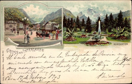 Lithographie Interlaken Kanton Bern Schweiz, Stadtpartie, Volksbank, Kurgarten - BE Berne