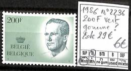 [843185]TB//**/Mnh-c:29e-Belgique 1986 - N° 2236, 200f Vert, Gomme?, Familles Royales, Rois, SNC - Unused Stamps