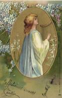 Carte Gaufrée  Jeune Femme Jouant De La Harpe + Myosotis Pionnière   RV - Women