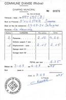 Facture Du Camping Municipal De La Commune D'Anse (Rhône) 3/7/1978 - Sport & Turismo