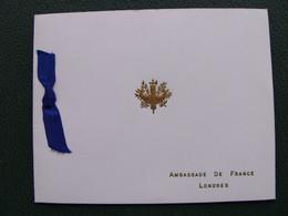 Carte De Voeux Ambassade De France à Londres Grande Bretagne - Documents Historiques