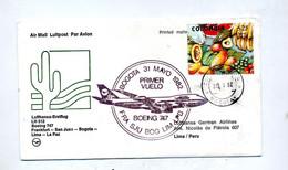 Lettre  Vol Lufthansa  Boeing Bogota Lima - Airplanes
