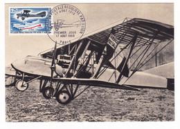 Carte Du Premier Jour 1968 50e Anniversaire Liaison Postale Paris Saint-Nazaire Bimoteur Avion Aviation Letord 4 A 8 - Airplanes