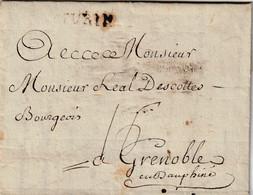 Marque Postale Turin Du 19 Avril1775 Pour Grenoble. Taxe à La Plume 16 Et 4 Au Verso - 1701-1800: Voorlopers XVIII