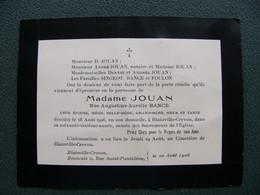 Faire Part Décès Mme Jouan Née Bance 1926 BLAINVILLE CREVON Seine Maritime 76 - Obituary Notices