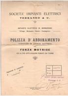 Nanto Barbarano Villaga Mossano Castegnero Contratto Fornitura Energia Elettrica X Forza Motrice 1945 - Italie