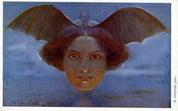 BAT WOMAN VAMPIRE FINE OLD FANTASY Postcard M. ICHNOWSKI - Andere Illustrators