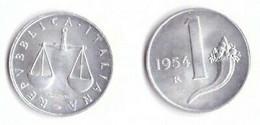REPUBBLICA -1954 - 1£. BILANCIA E CORNUCOPIA Bella Moneta In Condizioni FDC - 1 Lira