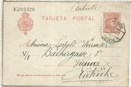 ALFONSO XIII ENTERO POSTAL A AUSTRIA CON MAT AMBULANTE NORTE 1907 - Cartas