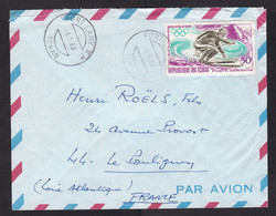 Chad: Airmail Cover To France, 1968, 1 Stamp, Winter Olympics, Skiing, Ski, Sports, Rare Real Use (minor Damage) - Tchad (1960-...)