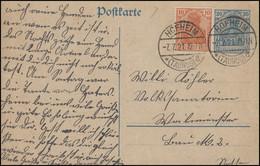 Postkarte P 120AI Germania 30 Pf Mit Germania 10 HOFHEIM 7.7.21 Nach Weilmünster - Stamped Stationery