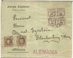 MALAGA A ALEMANIA ALFONSO XIII TARIFA IMPRESOS SELLOS CADETE Y CUARTILLOS 1901 - Cartas