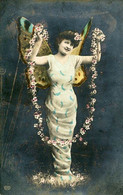 WINGED BUTTERFLY WOMAN EARLY COLORED REAL PHOTO Postcard 1907 - Andere Fotografen