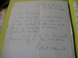 LETTRE AUTOGRAPHE SIGNEE DE ROBERT D'HARCOURT 1949 INTELLECTUEL CATHOLIQUE GERMANISTE ACADEMIE à BAUER - Autographs