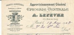 CO  / Facture Ancienne RUE DE SIAM BREST A.LEFEBVRE  Epicerie Centrale 1903 - 1900 – 1949