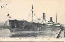 """A/239           76    Le Havre          Transatlantique  """"la Savoie"""" Sortant Du Port - Portuario"""