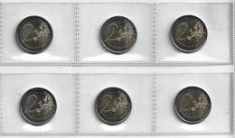 ANDORRA LOTE DE LAS 6 MONEDAS DE 2,00€ QUE HAN SALIDO EN ANDORRA  EN BUEN ESTADO O SIN CIRCULAR (C.M.) - Andorre