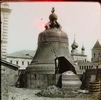 RUSSIE MOSCOU - PLAQUE DE VERRE   LA GROSSE CLOCHE    3 SCANS - Diapositivas De Vidrio