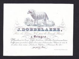 555A /29 -- BRUGES CARTE PORCELAINE - Carte Illustrée  Dobbelaere , Marchand De Draps , Laines ... - Litho De Lay - Cartes De Visite